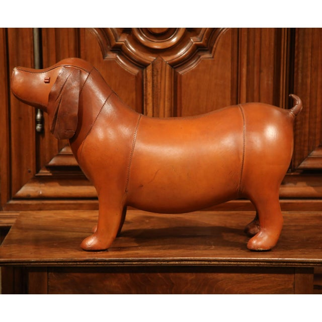 French Large French Brown Leather Dog Footstool For Sale - Image 3 of 9
