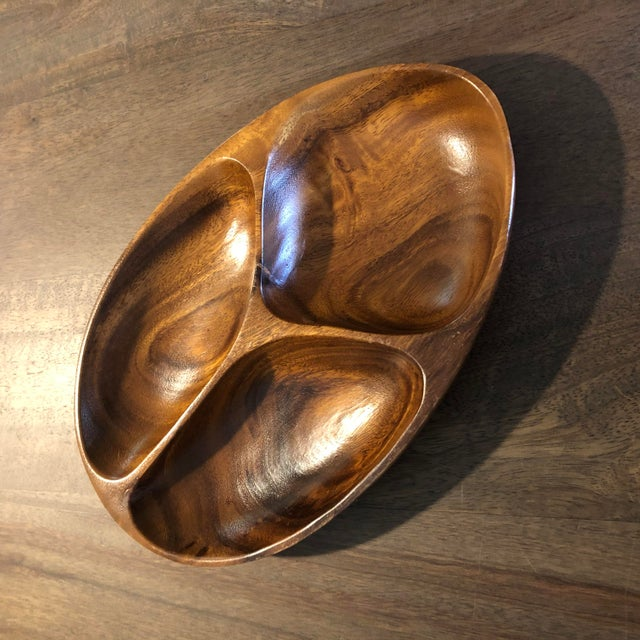 Vintage Mid Century Modern Hand Carved Serving Tray For Sale - Image 9 of 9