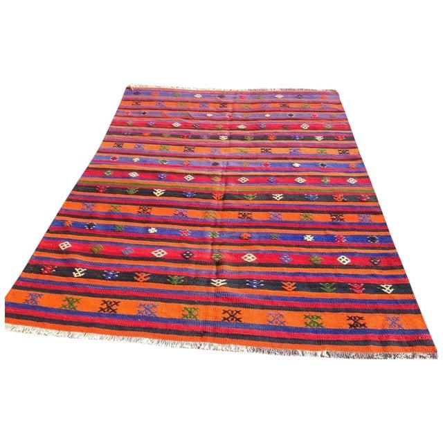 """Vintage Orange Turkish Kilim Rug, 5' 7"""" x 7' 7"""" - Image 1 of 6"""