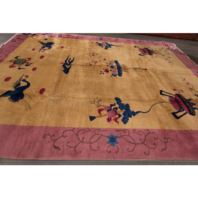 "Textile Apadana Chinese Art Deco - 9'2"" X 11'5"" For Sale - Image 7 of 7"