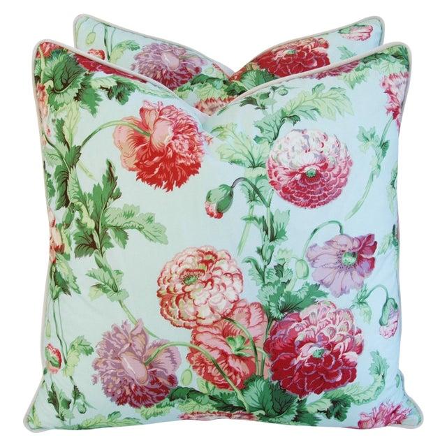 Designer Brunschwig & Fils Poppies Pillows - Pair - Image 1 of 9