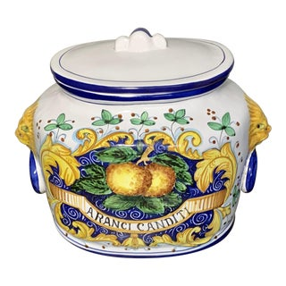 Deruta Italy Hand Painted Covered Ceramic Jar With Orange Peel Decoration For Sale