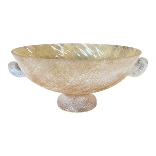 Murano Scavo Glass Centerpiece Bowl For Sale