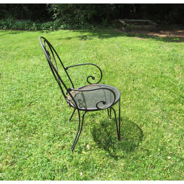 Woodard Parisian Style Wrought Iron Patio Outdoor Bistro Cafe Set- 3 Pieces For Sale In Raleigh - Image 6 of 11