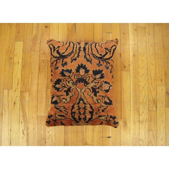 """A vintage Persian Lilhan oriental carpet pillow, size 21"""" x 20"""" (1'9"""" x 1'8""""). This handsome decorative pillow is fronted..."""