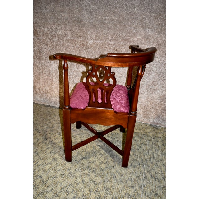 Vintage Chippendale Hickory Chair Solid Mahogany Style Corner Chair For Sale - Image 11 of 13