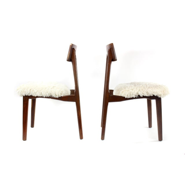Boho Chic 1950s Mid-Century Modern Shag and Wood Chairs - a Pair For Sale - Image 3 of 8