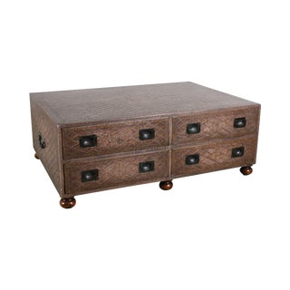 Maitland Smith Distressed Brown Tooled Leather Campaign Coffee Table W/ Drawers For Sale
