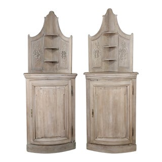 19th Century Country French Stripped Oak Cabinet-A Pair For Sale
