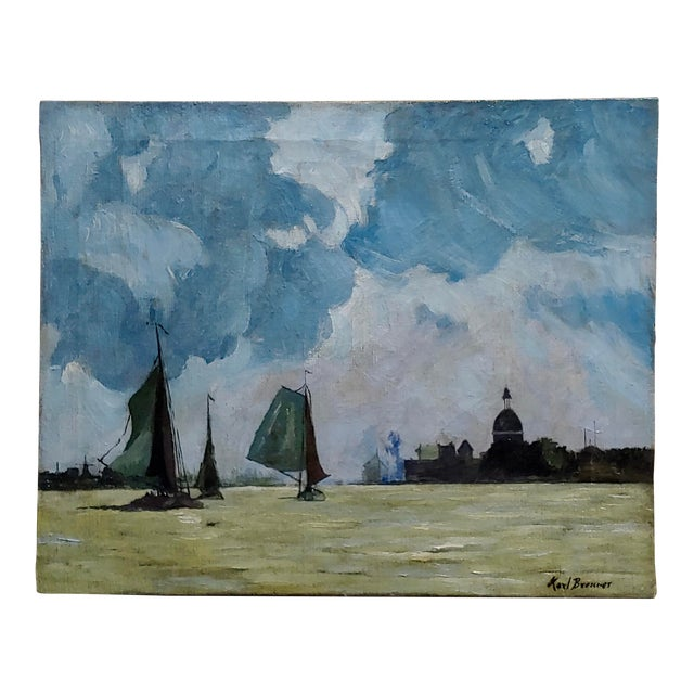 Karl Brenner - View of Istanbul -Oil Painting - C1910s For Sale