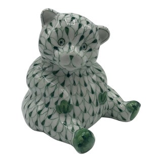 1980s Green and White Herend-Style Teddy Bear Sculpture For Sale