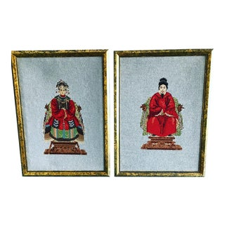 Vintage Chinese Style Framed Needlepoint Textile Art - a Pair For Sale
