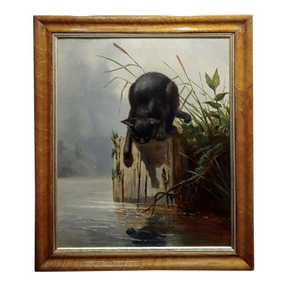 "19th Century ""Narcisistic Black Cat"" Oil Painting For Sale"