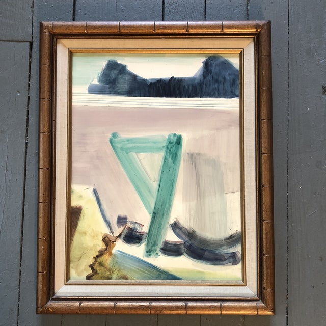 1960s Vintage Original Abstract Mid Century Landscape Painting For Sale - Image 5 of 5