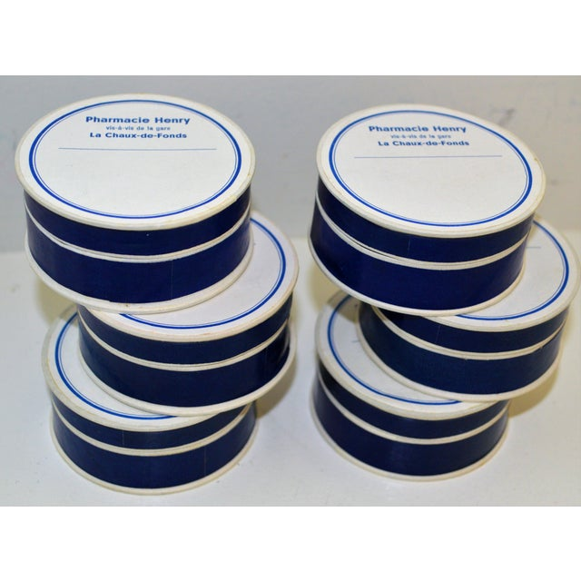 6 PillBox Paper Antique Drugstore Apothecary Pharmacie Blue White French Lot For Sale - Image 9 of 9