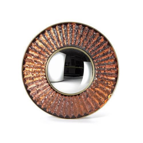 Contemporary The Convex Studio Mirror in Amber by Ghiro Studio For Sale - Image 3 of 3