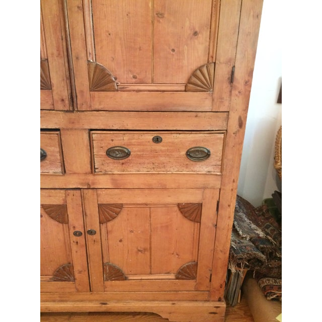 Charming Old Rustic Pine Linen Press Cabinet - Image 5 of 11