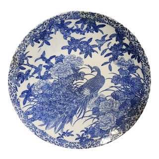Late 19th Century Japanese Arita Blue and White Porcelain Peacock Motif Charger For Sale