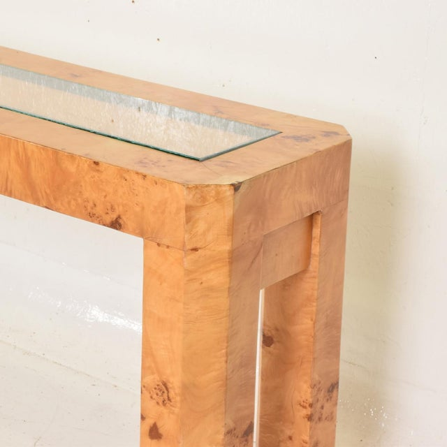 1960s XL Mid Century Modern French Custom Ash Burlwood Console Table For Sale - Image 5 of 9