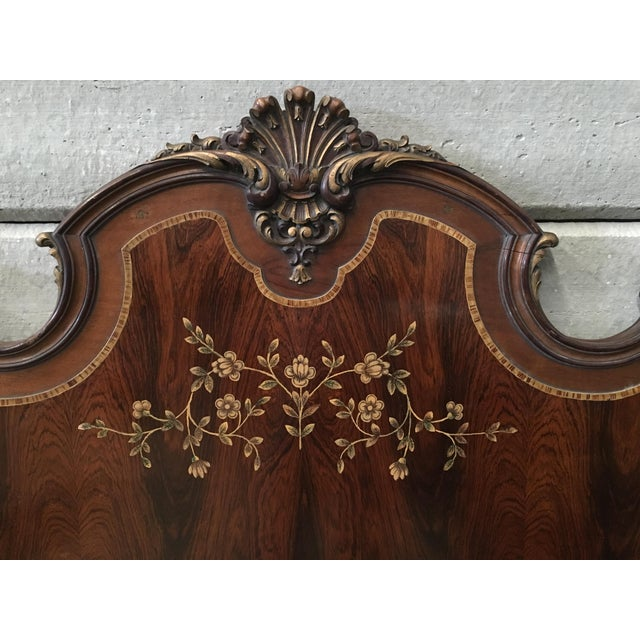 1930s Venetian Baroque Twin Marquetry & Carved Walnut Beds - A Pair For Sale - Image 9 of 11