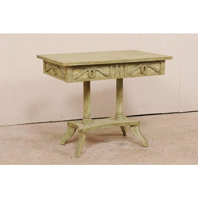 Swedish 19th Century Neoclassical Painted and Carved Wood Lindome Style Table For Sale - Image 4 of 10