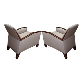 Attributed Pierre Chareau Design Pair of Club Chairs For Sale