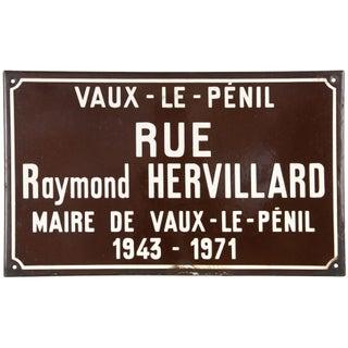 French Porcelain Enamel Rue Hervillard Street Sign