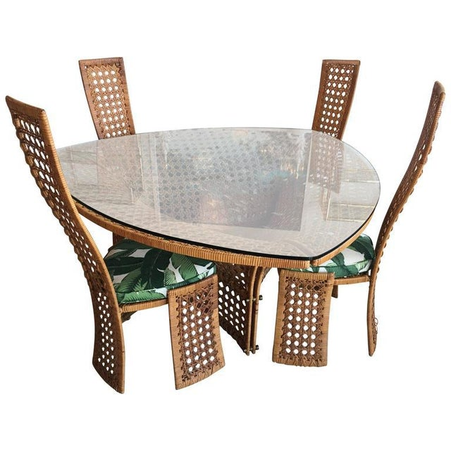 Rattan Dining Table And Chairs: Sophisticated Danny Ho Fong Rattan & Wicker Dining Table