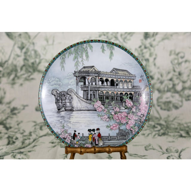 """""""Scenes From the Summer Palace"""" Imperial Jingdezhen Porcelain Collector Plates - Set of 7 For Sale - Image 4 of 13"""