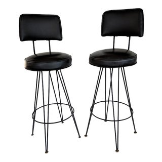 1960s Mid-Century Modern Black Hairpin Legl Bar Stools - a Pair For Sale