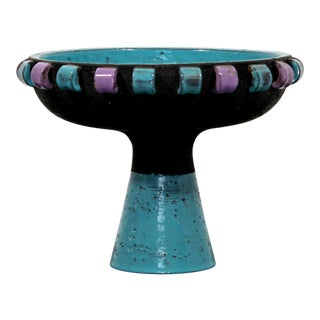 Bitossi Mid Century Modern Ceramic Art Teal Violet Vessel For Sale