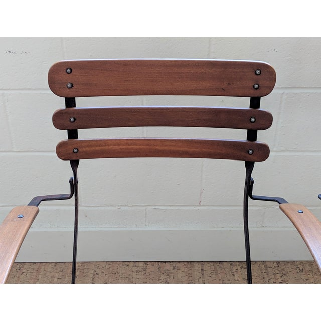 French Country Antique Iron & Teak Garden Chairs – a Pair For Sale - Image 9 of 12
