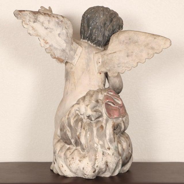 Wood Antique Carved Wooden Angel For Sale - Image 7 of 11