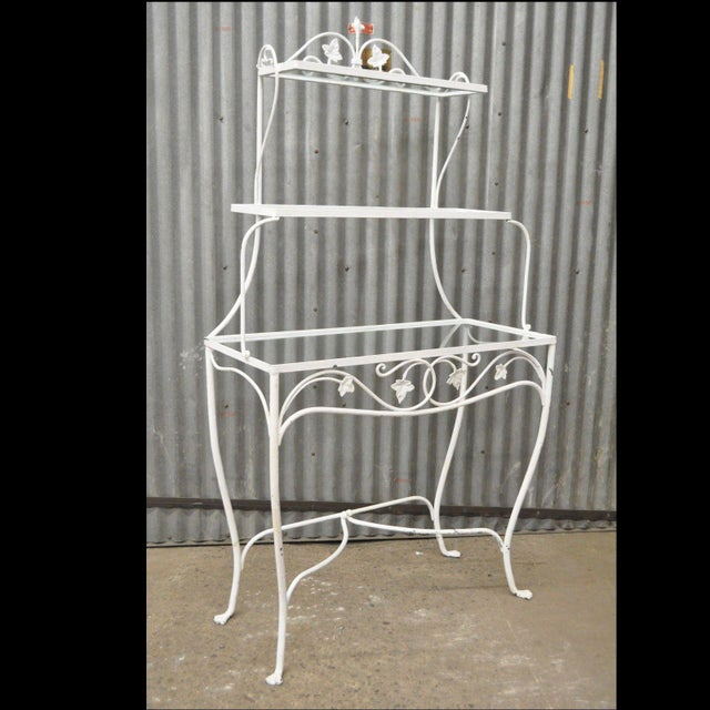 French Country Vintage Salterini Mt Vernon Pattern Stand Bakers Rack Wrought Iron French Country For Sale - Image 3 of 11