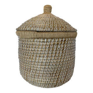 Large Abaca Hand-Woven Covered Basket For Sale