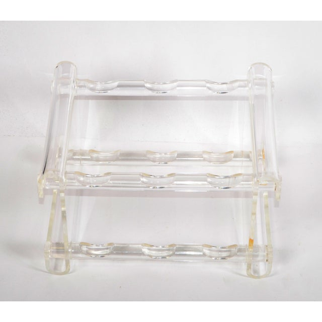 1970s Mid-Century Modern Six Bottles Lucite Table Top Wine Rack Beverage Stand 70s For Sale - Image 5 of 13