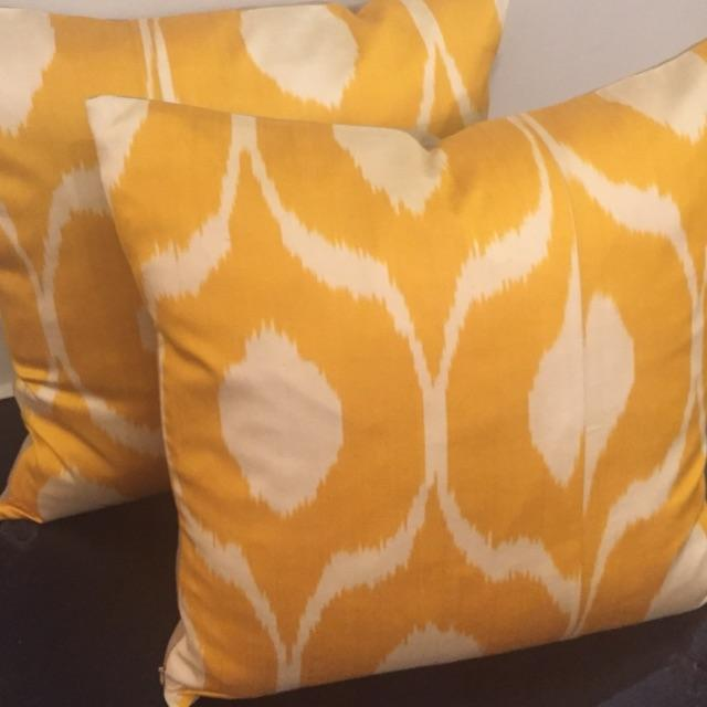 Contemporary Hand Dyed Yellow Ikat Pillows - A Pair For Sale - Image 3 of 4