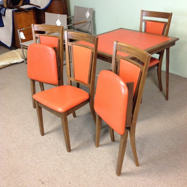 Stakmore Company Stakmore Wood Game Table & Chairs For Sale - Image 4 of 9