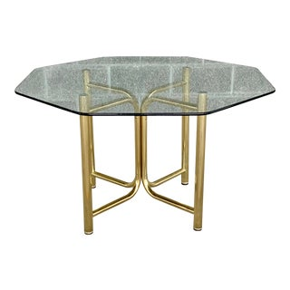 Vintage Hollywood Regency Chromcraft Metal and Glass Dining Table For Sale