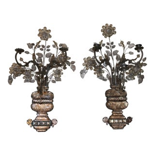 "1880s Signed Maison Bagues Rock Crystal Flower Grand Sconces - a Pair - Huge 27"" Museum Quality For Sale"