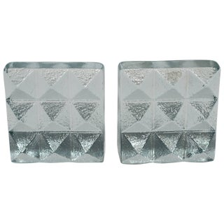 Pair of Glass Pyramid Bookends For Sale