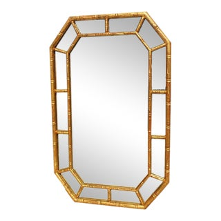 1970s Vintage Faux Bamboo Gilt Mirror For Sale