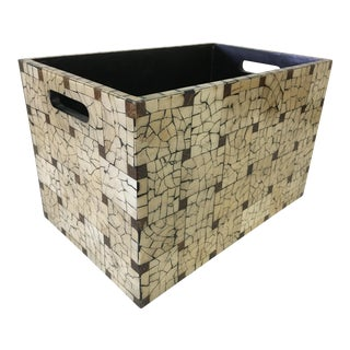 1990s Crushed Coconut Shell Box / Magazine Holder For Sale
