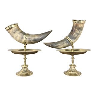 19th Century Bronze-Mounted Horn Bookends - a Pair For Sale