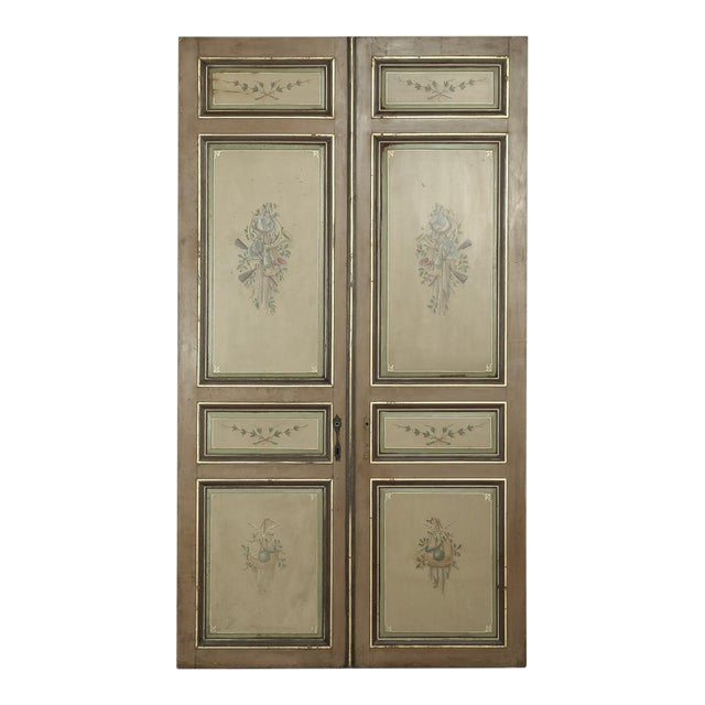 Pair 19th Century French Hand Painted Paneled Interior Doors For Sale