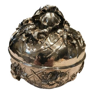 Antique Japanese Meiji Period Solid Silver Bowl With Lid For Sale