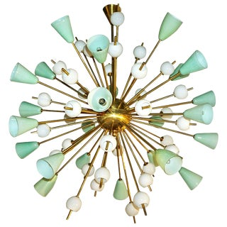 Contemporary Italian White & Mint Green Murano Glass Sputnik Brass Chandelier For Sale