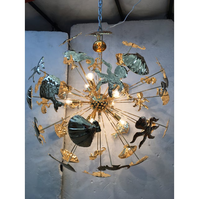 Gold 24k Metal frame Chandelier. Unique and rare Gold 24k Metal frame Chandelier sputnik chandelier. italianlightdesign.it...