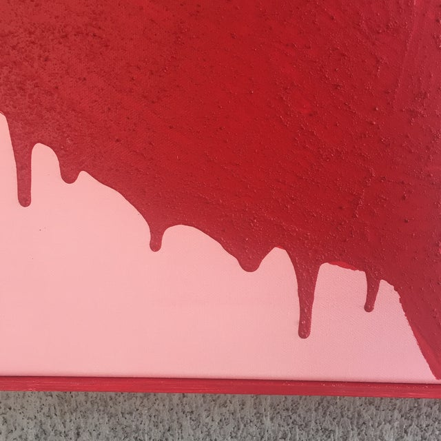 2010s Framed Red Flowers on Pink, Dripping - Acrylic and Sand For Sale - Image 5 of 11