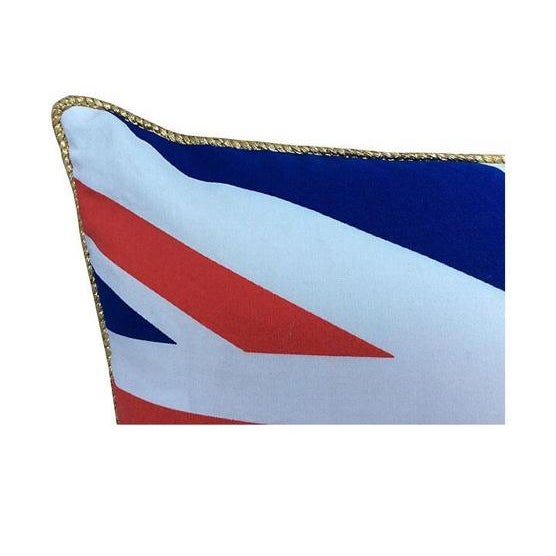 Custom pillow made with a vintage English Union Jack textile flag front and gold velvet backing trimmed in gold metallic...